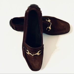 Gucci Auth Horsebit Brown Suede Loafers 37 7